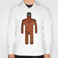 super hero Hoodies featuring Rust Man - Super Hero by Paul Stickland for StrangeStore
