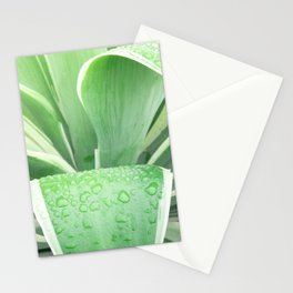 Green leaf photography Morning dew II Stationery Cards