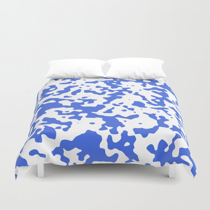 Spots - White and Royal Blue Duvet Cover