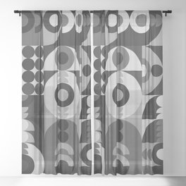 Geometry Games V / Black Palette Sheer Curtain