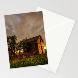 Basking in the Glow - Old Barn In Warm Sunlight in Oklahoma Stationery Cards