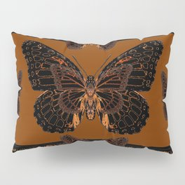 BLACK  MONARCH BUTTERFLIES,COFFEE BROWN-BURGUNDY ART Pillow Sham