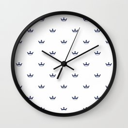 Navy Blue Crown pattern Wall Clock
