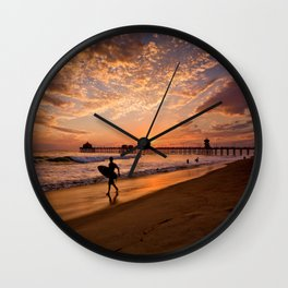 Surf City Sunsets   9/10/15   Huntington Beach California  Wall Clock