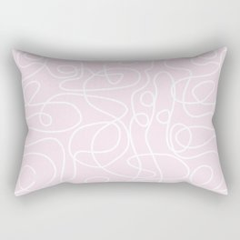 Doodle Line Art | White Lines on Palest Pink Rectangular Pillow