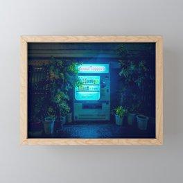 Japanese Vending Machine In The Midnight Rain Framed Mini Art Print