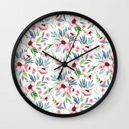 Flowers in Bloom Pattern Wall Clock