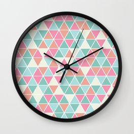 Triangulation (pink and green) Wall Clock