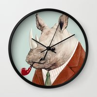 rhino Wall Clocks featuring Rhino by Animal Crew