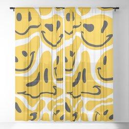 TRIPPY MELTING SMILE PATTERN Sheer Curtain
