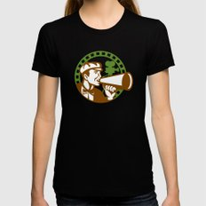 Movie Director Bullhorn Vintage Movie Camera Retro MEDIUM Womens Fitted Tee Black