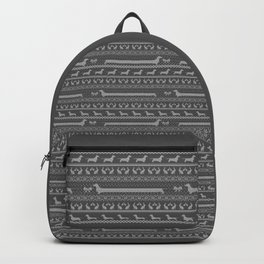 Ugly christmas sweater | Smooth dachshund grey Backpack