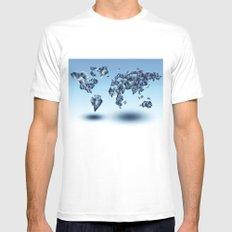world map MEDIUM White Mens Fitted Tee