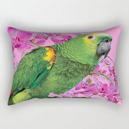 PINK TROPICAL GREEN PARROT & FUCHSIA ORCHIDS  ART Rectangular Pillow
