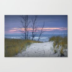 Sunset Photograph of Trees and Dune with Beach Grass at Holland Michigan No. 0241 Canvas Print
