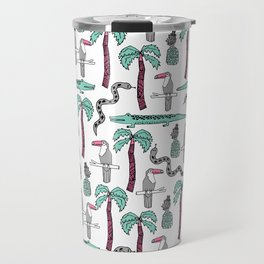 Tropical alligator palm trees toucan pattern by andrea lauren drawing illustration Travel Mug