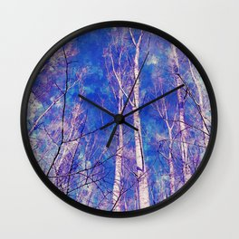 White Trees Light Blue Sky In February Watercolor Wall Clock