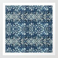 Vintage indigo inspired  flowers and lines Art Print