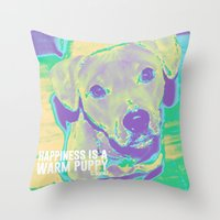 kobe Throw Pillows featuring Happiness: Pitbull (Dog)  by PupKat