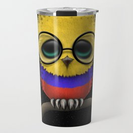 Baby Owl with Glasses and Colombian Flag Travel Mug