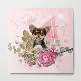 Eclectic Geometrical Chihuahua Metal Print