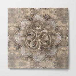Om Symbol Lotus flower Vintage gold Metal Print