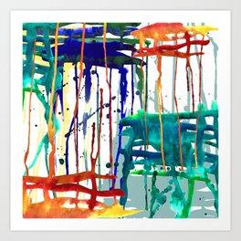 Drip drop watercolor abstract painting Art Print