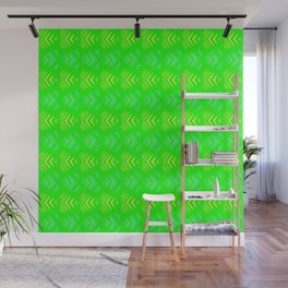 Pattern of intersecting blue hearts and yellow stripes on a green background. Wall Mural