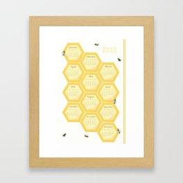 2015 Bees and Honeycomb Calendar Framed Art Print