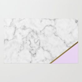Pink and Gold with Marble Detail Rug