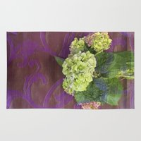 hydrangea Area & Throw Rugs featuring hydrangea by Federico Faggion