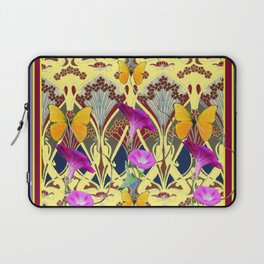 Decorative Cream Color & Fuchsia Morning Glories Floral Yellow Butterflies Laptop Sleeve