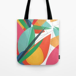 Abstract multicolored tropical flower, bird of paradise, superimposed shapes and transparencies Tote Bag