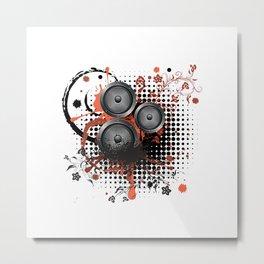 Loudspeaker with splatters and floral Metal Print