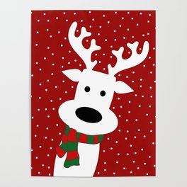 Reindeer in a snowy day (red) Poster