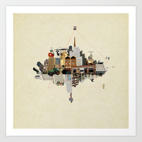 Collage City Mix 5 Art Print
