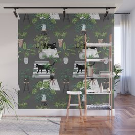 cats in the interior dark pattern Wall Mural