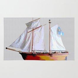 Sailing ship, abstract. Rug