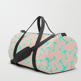 Tropical turquoise nautical anchors on pastel blush pink Duffle Bag