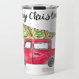 Christmas Tree on Red Car Travel Mug