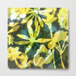 Flower Pattern in Lemon Metal Print