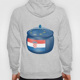 Flag of Croatia. Saucepan with a translucent cover. The symbol of the European Union. Hoody