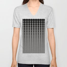 Reduced Black Polka Dots Pattern on Solid Pantone Pewter Background Unisex V-Neck