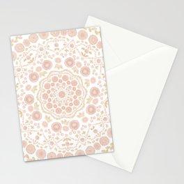 Chrysanthemum Mandala, peach and gold Stationery Cards