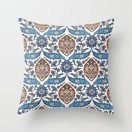 Iznik Tile Pattern Blue White Brown Throw Pillow
