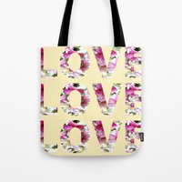 all you need is love Tote Bags featuring ALL YOU NEED IS LOVE by Artisimo