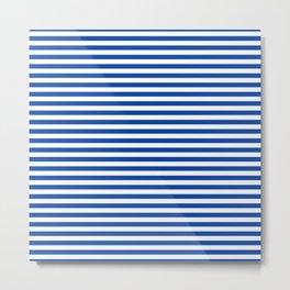 Geometric navy blue white nautical stripes pattern Metal Print