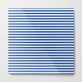 Geometric navy blue white nautical stripes pattern Metal Print