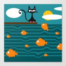 fishes and cat Canvas Print