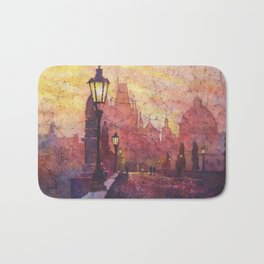 Watercolor painting of statues on Charles Bridge in medieval city of Prague- Czech Republic. Bath Mat